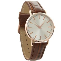 Brown Croc Texture Strap Watch (£13) ❤ liked on Polyvore featuring jewelry, watches, brown watches, brown jewelry and brown wrist watch