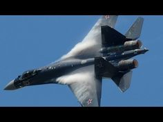 """""""Paris Air Show 2013 - Su-35 vertical take-off + Air Show (HD) - YouTube"""" The really scary thing about this fighter is how it can manoeuver. It doesn't """"turn on a dime"""", it """"turns on itself""""! You don't want to dogfight against that one... It can turn and twist like a WWI biplane, if not better, but it is a jet fighter!"""
