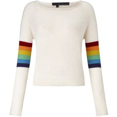 360Sweater Rainbow Sweater (255 AUD) ❤ liked on Polyvore featuring tops, sweaters, cream, boatneck top, white long sleeve sweater, cream cashmere sweater, boat neck tops and white boat neck top