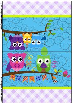Cartão Agradecimento de Mesa Corujinhas Lilás e Azul: