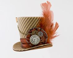 Brown Mini Top Hat, Mad Hatter, Burlesque hat, Steampunk mini top hat,Victorian,Show Girl, Bachelorette, Cosplay, cake topper,Fascinator hat