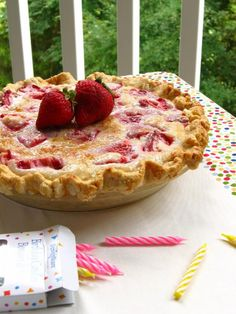 Summer Strawberry Sour Cream Pie - Willow Bird Baking
