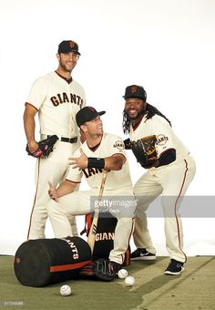 Madison Bumgarner, Buster Posey and Johnny Cueto