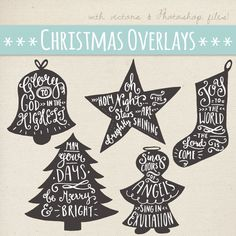 CLIP ART: Christmas Lettering Overlays 7 // Typography Graphics // Tshirt Mug Card Stamp Decal Desig Family Christmas Cards, Christmas Clipart, Christmas Tree, Brosses Photoshop, Clipart Noel, Tree Clipart, Carol Lyrics, O Holy Night, Clip Art