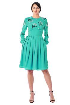 6ad1dc9dda8 Floral embellished crepe banded empire dress