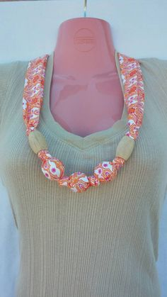 Nursing Teething Necklace- 100% cotton fabric covered natural wooden beads-  Orange & Purple #bestofEtsy #etsyretwt