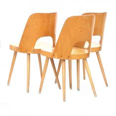 Set of 3 Model 515 dinner chairs from the sixties by Oswald Haerdtl for Ton Czechoslovakia