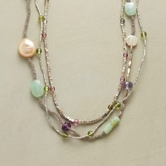 MIX IT UP NECKLACE--An eclectic gemstone necklace, featuring a pretty mix of sterling silver beads, pink tourmaline and prehnite dotted with two cultured pearls. Three strands