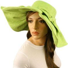 "Classy Beach Summer Ribbon Pleated Wide 5-3/4"" Brim Floppy Sun Hat Cap Lime SK Hat shop. $29.95"