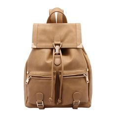 SheIn(sheinside) Khaki Buckle Metal Embellished Backpack ($31) ❤ liked on Polyvore featuring bags, backpacks, backpack, sheinside, khaki, rucksack bag, beige bag, khaki bag, knapsack bags and buckle bag