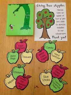 """Set up a """"Giving Tree"""" for Open House and/or Parent Teacher Conferences.  Cut out some apples and write what supplies you need on the apples.  An easy way for parents to donate to your classroom."""