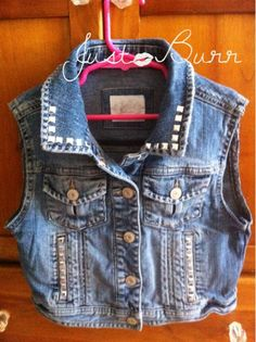 Cute DIY distressed studded jean jacket vest for a young girl. I added a Hello Kitty applique to the back.