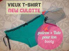 Crafty B.: Vieux T-shirt, nouvelle culotte ! Tuto + patron dedans The link shows the pattern, pour ton booty! Sewing Clothes, Diy Clothing, Sewing Lingerie, Couture Outfits, Creation Couture, Couture Sewing, Diy Blog, T Shirt Diy, Retro