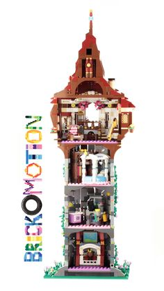 Rapunzel's Tower (back side)- Rapunzel's Tower (back side)- Glitter calligraphy will blow your mind. LEGO Disney Castle coming this September - LEGO Elves Lego Minecraft, Lego Moc, Lego Disney Princess, Disney Tangled, Disney Princesses, Lego Design, Micro Lego, Lego Videos, Lego Christmas