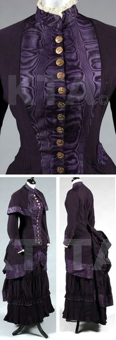 Dark purple wool and moiré silk mourning ensemble, Arthur Chambers & Co, Grantham, England, ca. 1880-85. Standup collar with tulle ruffles, small fob pocket at the waist, ruched skirt panels and center-back waist, gilt-brass Venetian-style winged lion buttons, matching capelet. Kerry Taylor Auctions