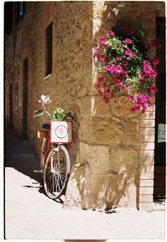 Italy - Flowers and bike #Pienza - Val D'Orcia - #Siena #Praktica