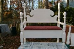 Awesome. Bench made from an old headboard and footboard.