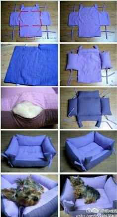 Find Pillow Pet Beds and more for your furbaby. We've included a doggy sweater and a denim jeans pet lap plus the best diy pillow pet beds.The cutest DIY pet bed ideas that are sure to make your favorite fur babies happy. See the best designs for 201 Diy Pour Chien, Diy Dog Bed, Pet Beds Diy, Animal Projects, Diy Pillows, Pillow Beds, Pillow Mattress, Bolster Dog Bed, Cat Pillow