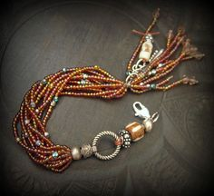 Glass Mixed Bone and Silver Beaded Wrap Charm by yuccabloom.  Love this look...