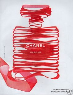 1999 PRINT AD: Chanel Parfum Perfume Classic Bottle Depicted in Sheer Red Ribbon