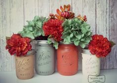 Cinnamon Spice, Fall Colors, Wedding, Autumn colors, Painted Mason Jars, Rustic, Barn Wedding, Wedding Decor, Bridal Shower, Table Settings on Etsy, $22.00