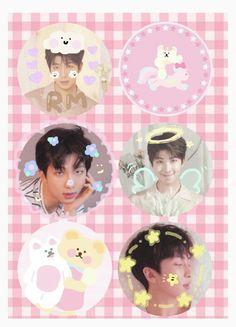 Namjoon, Taehyung, Pink Aesthetic, Cute Stickers, Bts Wallpaper, Photo Cards, Kawaii, Fan Art, Kpop