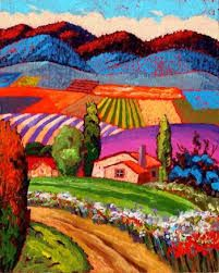 Gene Brown The Road To Walters House - Southwest Gallery: Not Just Southwest Art. Landscape Quilts, Landscape Art, Landscape Paintings, Colorful Paintings, Beautiful Paintings, Guache, Southwest Art, Happy Art, Naive Art