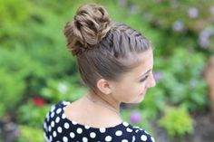 Double French Braid High Bun Updo