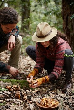 Couple mushroom #foraging in the #forest by Trinette Reed