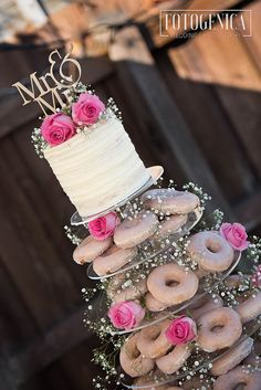 Donut Wedding Cake, Yarra Valley Backyard Wedding, - Chloe & Adam