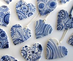 Blue and white hearts pendants- Great wedding decorations or wedding favors don't you think? could do somthing similar with salt dough