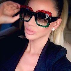 a9077034ebc  SUNGLASSES  NEW 2018 Luxury Retro Square Sunglasses Women Brand Designer  Vintage Driving Sunglass Sun