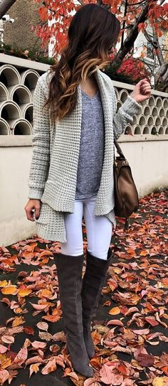 how to style a knit cardigan : top + bag + skinnies + over knee boots