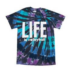 Life is VolleyballTie Dye Tee in purple and blue! Awesome