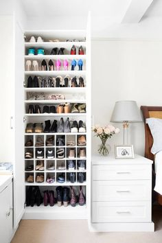 California Closets makes over one domino staffer& scary shoe situation in her small apartment. See how California Closets transformed one disorganized shoe closet into a beautiful storage situation. Closet Bedroom, Shoe Closet, Bedroom Storage, Diy Bedroom, Bedroom Ideas, Closet Space, Bedroom Designs, Closet Goals, Shoe Storage In Bedroom