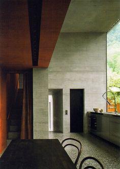 Views of the kitchen in Peter Zumthor's home, Haldenstein,...