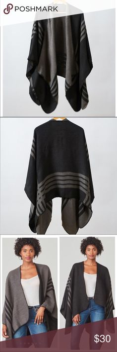 BB Dakota Poncho BB Dakota Poncho, Black/Gray Reversible Poncho. Brand new, in original packaging! FFF Winter Box BB Dakota Sweaters Shrugs & Ponchos