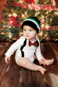 Baby Boy Bowtie Bodysuit with Suspenders and Crocheted Hat - Get The Set - Christmas Holiday - Photo Prop on Etsy, $36.00