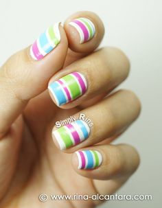 Colored Stripes Nail Art Design -I like how theyre basic and theyre still cute