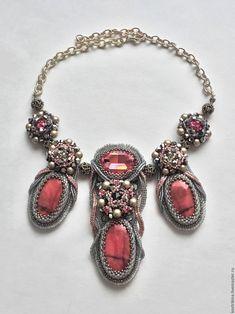 """Купить Колье """"Romance"""" - розовый, родонит, колье из бисера, серый, сваровски кристаллы, бисерное колье"""