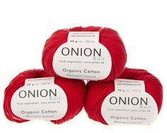 Rød økologisk bomuldsgarn fra Onion - 35 kr. per 50 gram