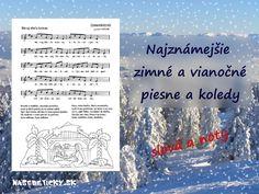 Vytlačte si slová a noty najznámejších vianočných piesní a kolied. Montessori, Diy And Crafts, Christmas Crafts, December, Teacher, Education, Cover, Winter, Books