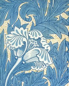 Details of a William Morris Tulip Arts & Crafts blue from our range of William Morris Mantels/Surrounds in the Art Nouveau style William Morris Wallpaper, William Morris Art, Morris Wallpapers, Art Deco, Illustration Art Nouveau, Pattern Illustration, Design Textile, Stoff Design, Motif Floral