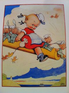 Rolling Pin Adventure Charming Childrens Vintage Art Print perfect for Nursery or playroom. $5.00, via Etsy.