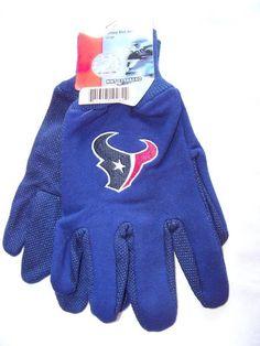 Houston Texans Large Garden Gloves Sport Navy Logo Utility Work All Season NFL…