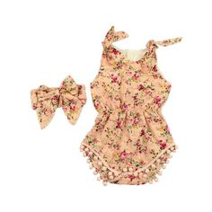 7e66d724d47 Floral Baby Girls Romper Girls Clothing set Summer Floral Pom Baby Romper  Cotton Girls pattern Romper with headband set