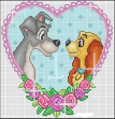 Disney Stitch, Lilo E Stitch, Disney Cross Stitch Patterns, Counted Cross Stitch Patterns, Cross Stitch Designs, Cross Stitch Heart, Beaded Cross Stitch, Cross Stitch Embroidery, Tom E Jerry