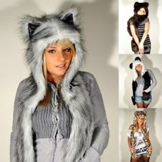 Animal hat with fur gloves NWT!  Chic and cozy animal hat collection!  Cute gift idea!!! Chic & Cozy Accessories Hats
