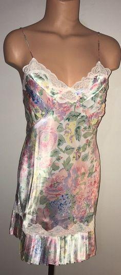 5261ac23173 Vtg Victoria s Secret nightgown Chemise floral satin Lace Pleated sz P Small