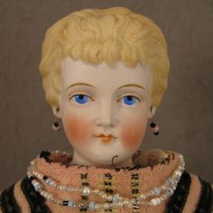 "17"" Antique German Conta Boehme Fancy Hair Parian Bisque Doll"